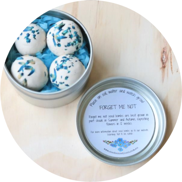 – Thinking of you –<br> Forget me not seed bombs