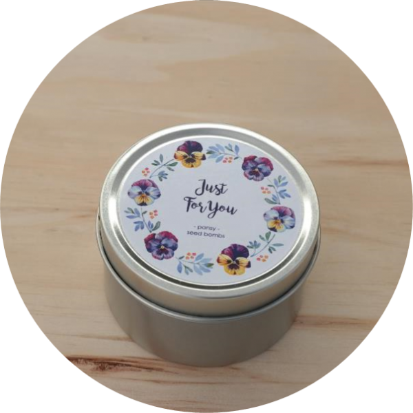 – Just for you – <br> Pansy seed bombs