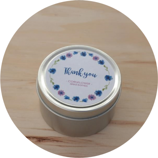 thank you gift, thanks, seed bombs, cornflowers, polka dot mix, winter flowers, seed ball